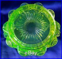 Northwood Uranium Glass Cherry Thumbprint Biscuit Cracker Jar Handled