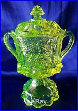 Northwood Uranium Glass Cherry Thumbprint Biscuit Cracker Jar Pedestal Handled
