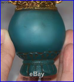 Old Chinese Gaze Glass Gild Elephant Head Handle Bottle Vase Jar Pot Statue