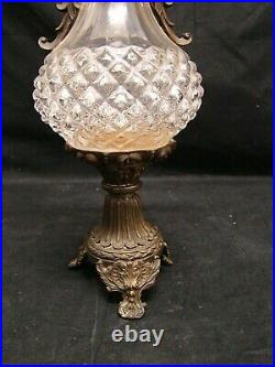 Old Jar Of Crystal With Two Handles And Base Bronze