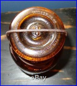 Old Vintage Antique Amber Brown Glass Putnam Jar 470 Bail Handle With LID