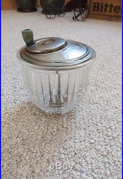 Old mayonnaise maker clear jar, cut glass, turn handle on top of metal blender