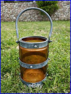 Orange Glass Jar with Metal Handle-Handmade Glass -Office -kitchen-Garden Decor