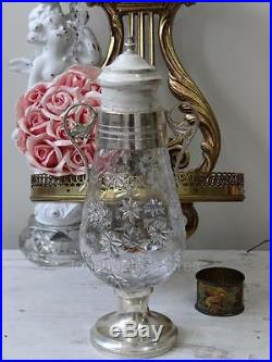 Ornate Vintage Glass Jar with Silver Lid handles Base French Shabby Chic Jar