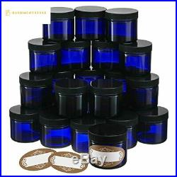 Pack of 24-2 Oz Small Glass Jars with Air-tight Lids Empty Little Glass Refill
