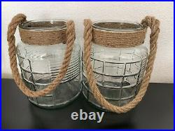 Pair Of Large Glass Hurrican Jars With Rope Handle Planter Candlesdefect Crack