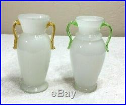 Pair of Antique Bohemian White Glass Jars Vials with Yellow and Green Handles