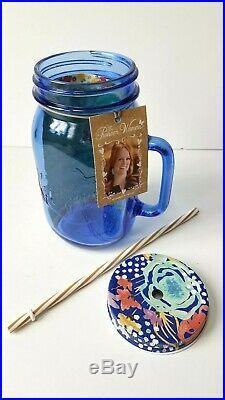 Pioneer Woman 32oz Drinking Glass Mason Jar Handle Lid & Straw Sapphire Blue NWT