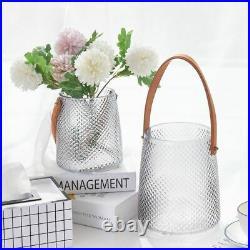 Portable Leather Handle Glass Vase Flower Wedding Decoration Home Hydroponic Pot