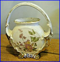 Pretty Victorian Hand Painted Milk Glass Footed Handled Biscuit Jar Basket