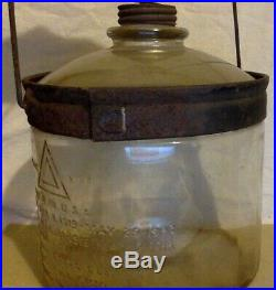 Primitive Glass Antique Kerosene Jar With Handle For Perfection Stove. 1923