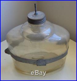 Primitive Glass Kerosene Jar With Metal Armor and Handle