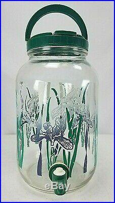 Purple & White Iris Flower Glass Sun Ice Tea Jar Jug Pitcher With Spout & Handle