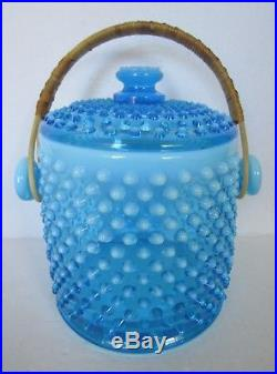 RARE Fenton Blue Opalescent Hobnail Glass Cookie Jar with Handle1941