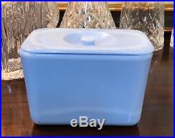 RARE McKee Delphite Poudre Blue 4 X 6 Knob Handled Refrigerator Dish Box Jar