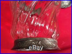 Rare Antique Victorian Swirl Glass Biscuit Jar w Pewter Base, Rim, Handle & Lid