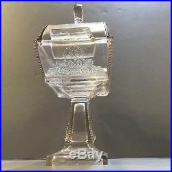 Rare Large EAPG Domed Biscuit Jar Pedestal Compote Handled Art Nouveau