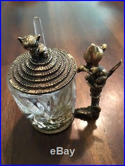 Rare Vintage Crystal Glass Brass Mustard Jar with Incredible Cat Handle & Lid