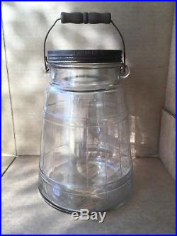 Rare Vintage Owens-Illinois Glass Co. 1 Gallon Butter Churn Jar withWood Handle