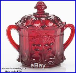 Red Glass Cherry & Cable Pattern 2 Handled Cracker Jar