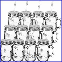 Redneck Sipper Drinking Jar with Handle 16oz Glass Mason Jar Acrylic Straw 12 Pack