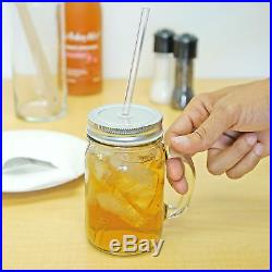 Redneck Sipper Drinking Jar with Handle 16oz Glass Mason Jar Acrylic Straw 4 Pack