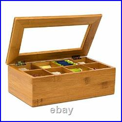 Relaxdays Bamboo Box with 8 Compartments Bag Caddy Wooden with Closable Lid +