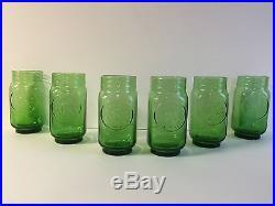 Rolling Rock 33 Beer Tap Handle & Six (6) Embossed Mason Jar Green Glasses NEW