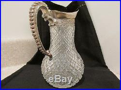 S38 ANTIQUE ABP CUT GLASS SYRUP MILK PITCHER SILVER TOP HANDLED KITCHEN WARE JAR