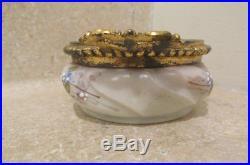 S38 antique wavecrest pin dresser jar enameled gold ormolu handles
