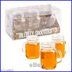 SET OF 3 HILLBILLY SHOOTERS MASON JAR GLASS SHOT MUG GLASSES WITH HANDLE