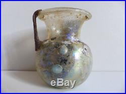 SUPERB ANCIENT ROMAN GLASS BOTTLE w. HANDLE / JAR 1st CENTURY AD