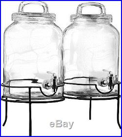 Savannah 1.5 Gallon Mason Jar Double Beverage Dispenser Set of 2 with Handle Lids