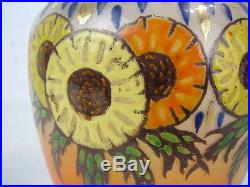 Scarce Antique Orange Glass Enamel Paint Biscuit Jar Lid Handle Flowers Daisies