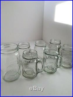 Set 7 Vintage Golden Harvest Glass Drinking Jar with Handle 16 oz & Mason Jar