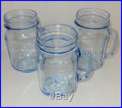 Set of 3 Blue Country Fair Rooster Chicken Handle 16 oz Glass Drinking Pint Jars