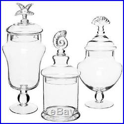 Set of 3 Clear Glass Apothecary Jars Seashell Handle Food Canisters Decor NEW