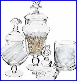 Set of 3 Seashell Handle Clear Glass Apothecary Jars / Food Storage Canisters