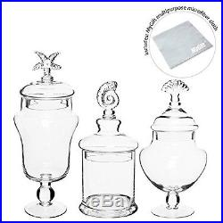 Set of 3 Seashell Handle Clear Glass Apothecary Jars / Food Storage Canisters /