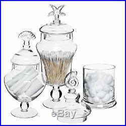 Set of 3 Seashell Handle Glass Apothecary Jars / Food Canisters / Centerpieces