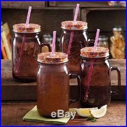 Set of 4 32oz Mason Glass Drinking Jars Plum with Orange Lids, Straws, Handles