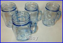 Set of 4 Blue Country Fair Rooster Chicken Handle 16 oz Glass Drinking Pint Jars