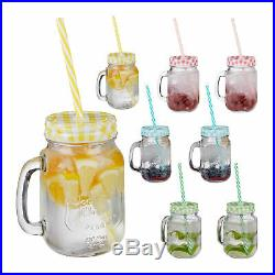 Set of 8 Drinking Mason Jam Jars with Straws and Handles, 4 Colours, Glass Set