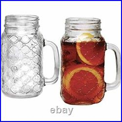 Sets of 4 Mason Jar 24oz Mugs with Glass Handles