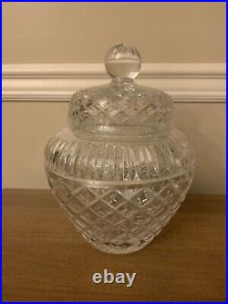 Shannon Crystal WINDSOR Large Covered Ginger Jar 8 1/2 Tall Plus Handle