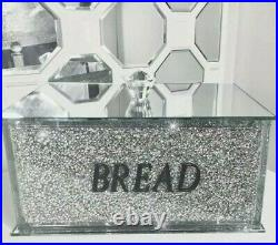 Silver Crushed Diamond Bread Bin Crystal Mirrored Container Jar Kitchen Bling XL