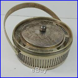 Silver Plated Condiment Jar Lid Handle Glass Liner No Hallmark Reticulated