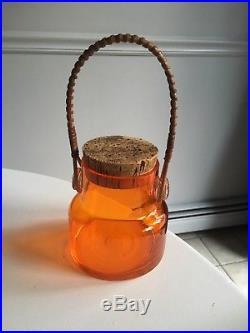 Small Mid Century Modern Japanese Orange Glass Jar Cork Stopper Wicker Handle