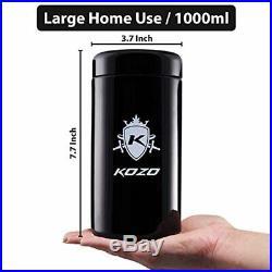 Smell Proof Stash Jar Large, Stylish 2 oz Size (1000 ml) Made of Black Glass