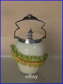 Stevens & Williams England Pink Cased Handled Castor Jar WithApplied Leaf